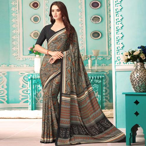 Surpassing Black Colored Casual Printed Crepe Saree