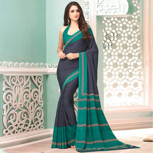 Beautiful Navy Blue Colored Casual Printed Crepe Saree