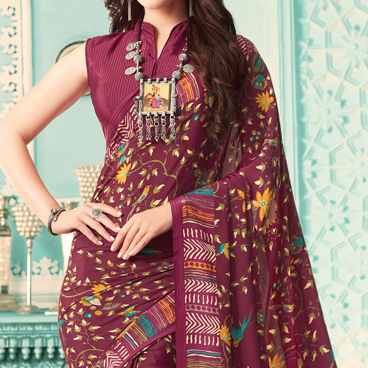 Blooming Wine Colored Casual Printed Crepe Saree