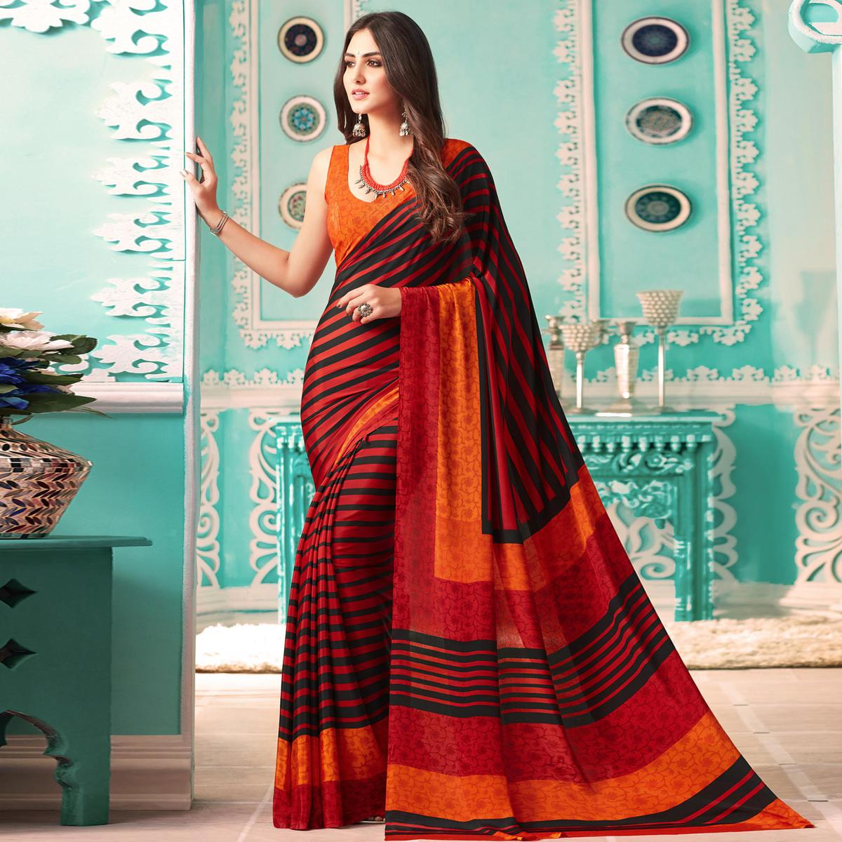 Classy Orange - Black Colored Casual Printed Crepe Saree