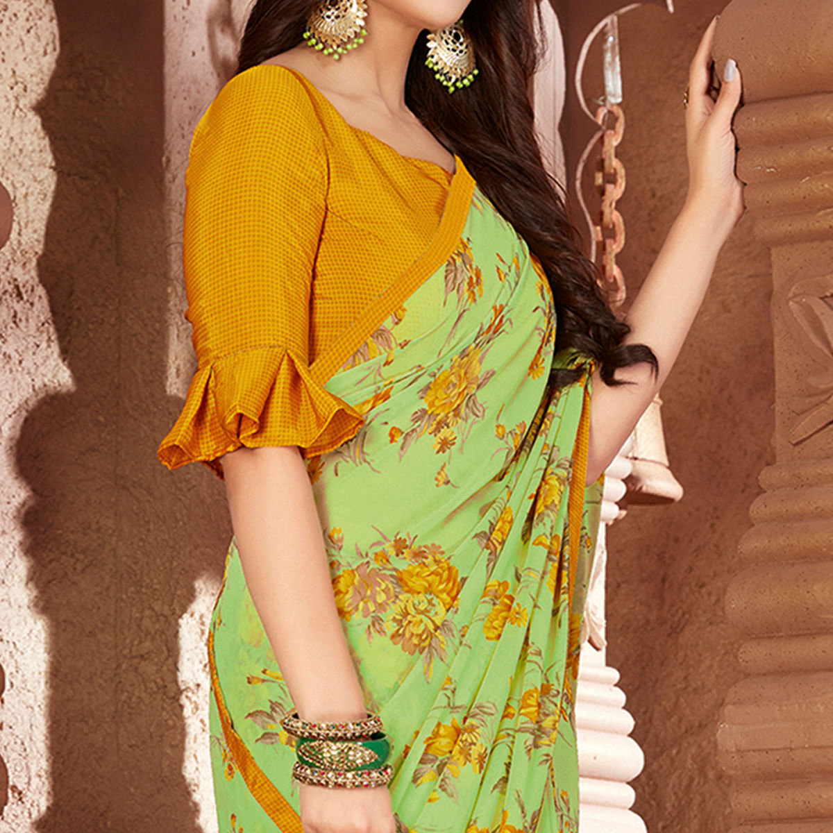 Blooming Green Colored Casual Printed Georgette Saree