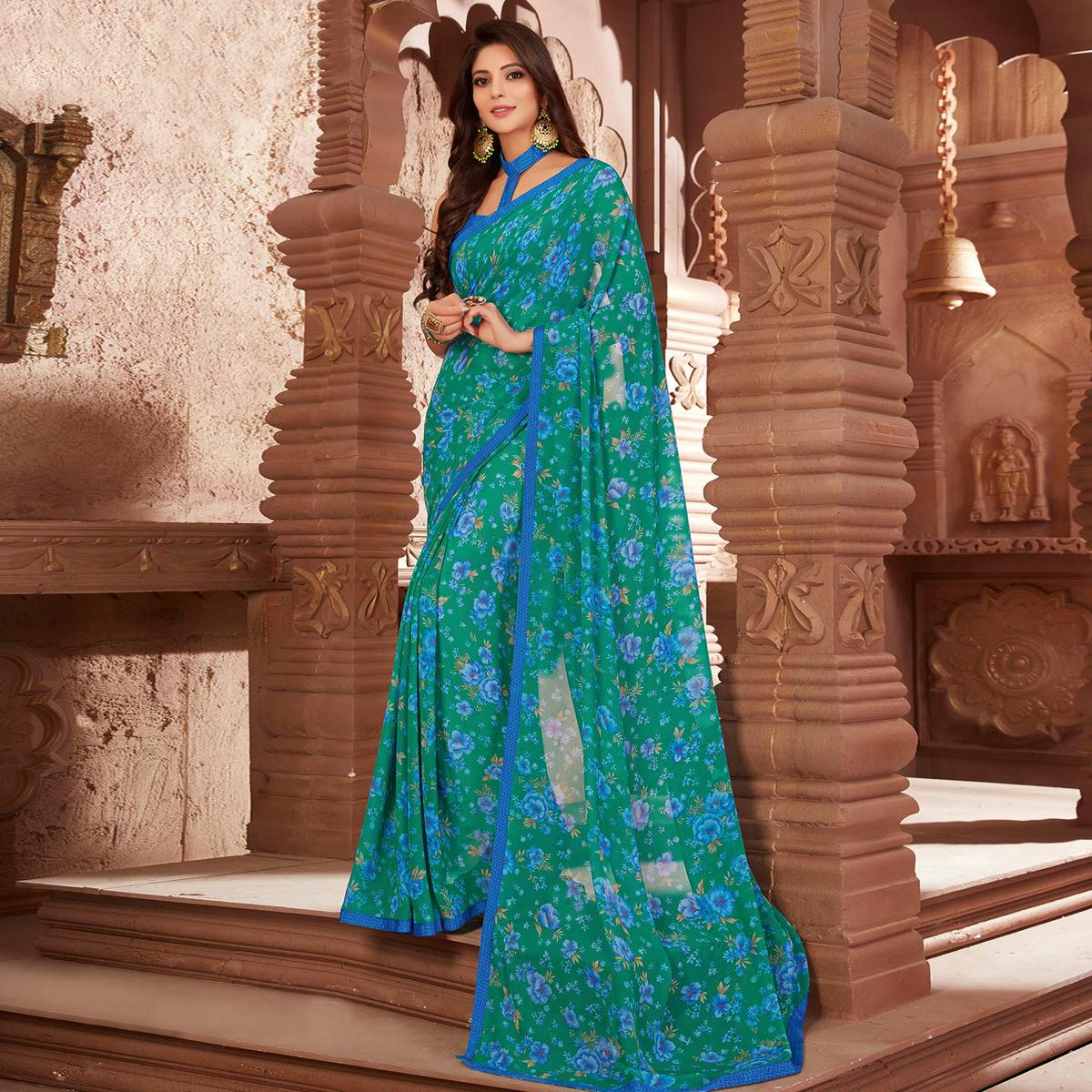 Delightful Turquoise Green Colored Casual Printed Georgette Saree