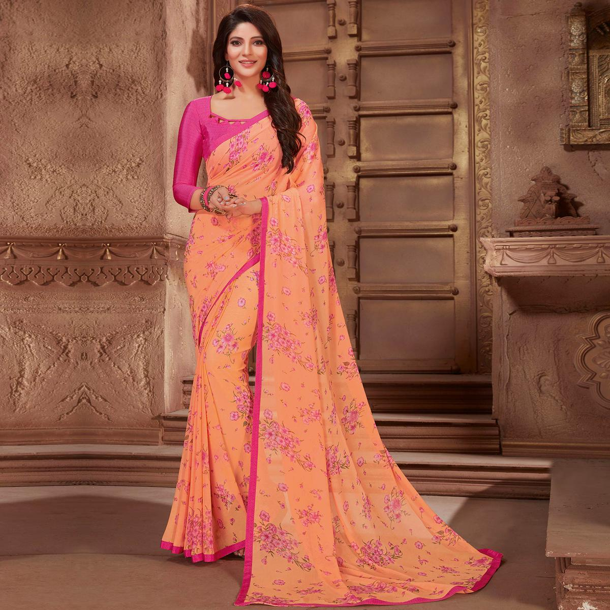 Exotic Peach Colored Casual Printed Georgette Saree