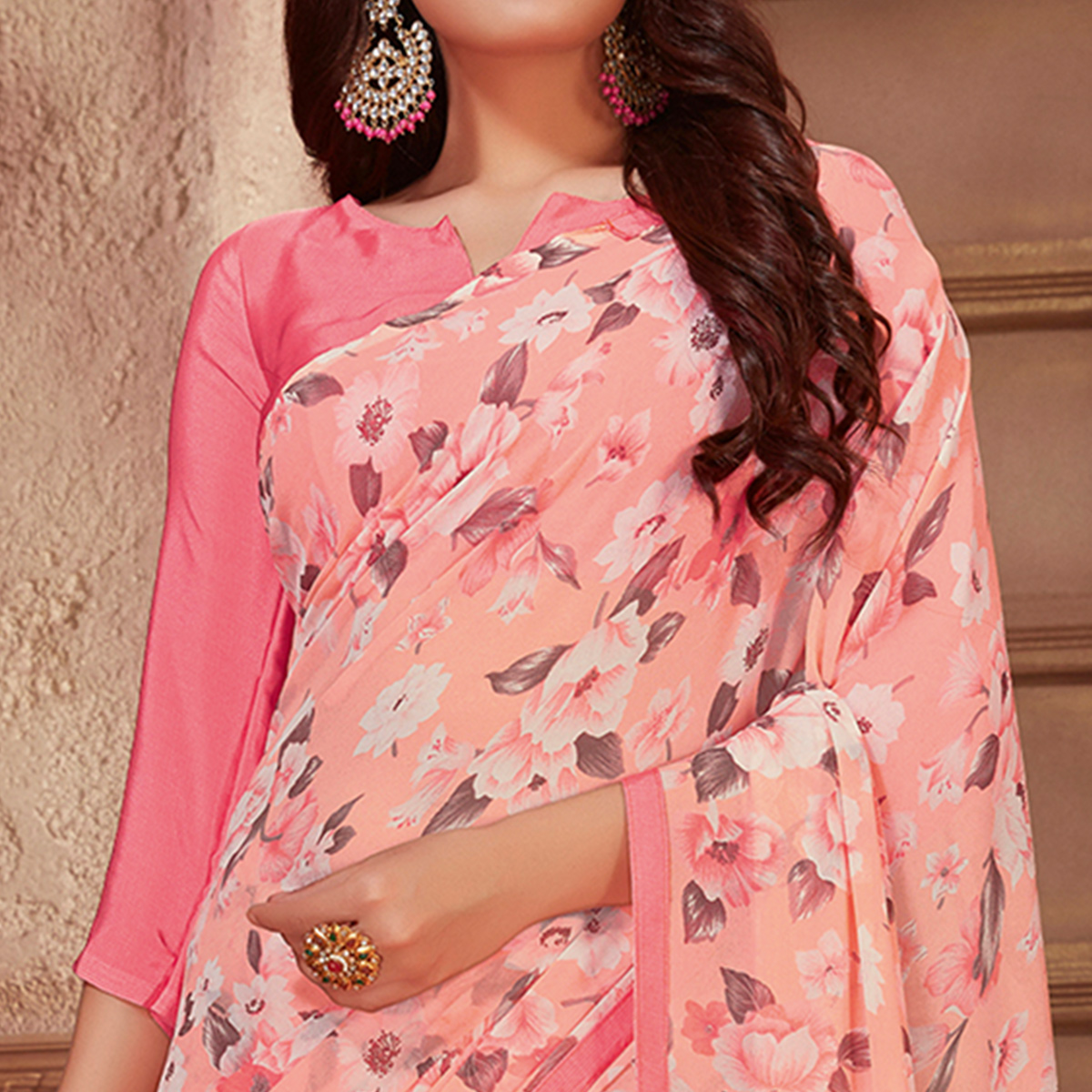 Majesty Peach Colored Casual Printed Georgette Saree