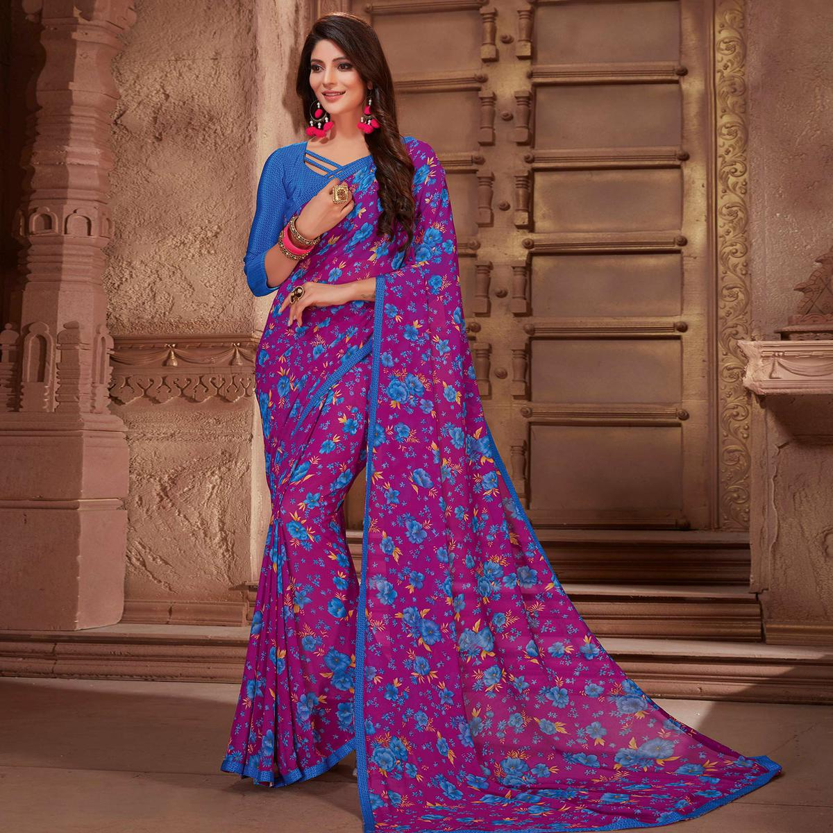 Mesmerising Purple Colored Casual Printed Georgette Saree