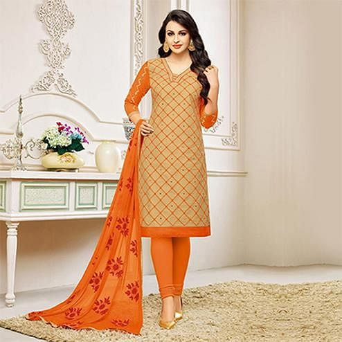 Beige Embroidered Partywear Chanderi Salwar Suit