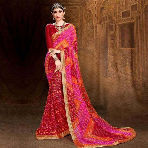 Beautiful Red-Pink Colored Bandhani Printed Heavy Georgette Saree With Jacquard Lace Border