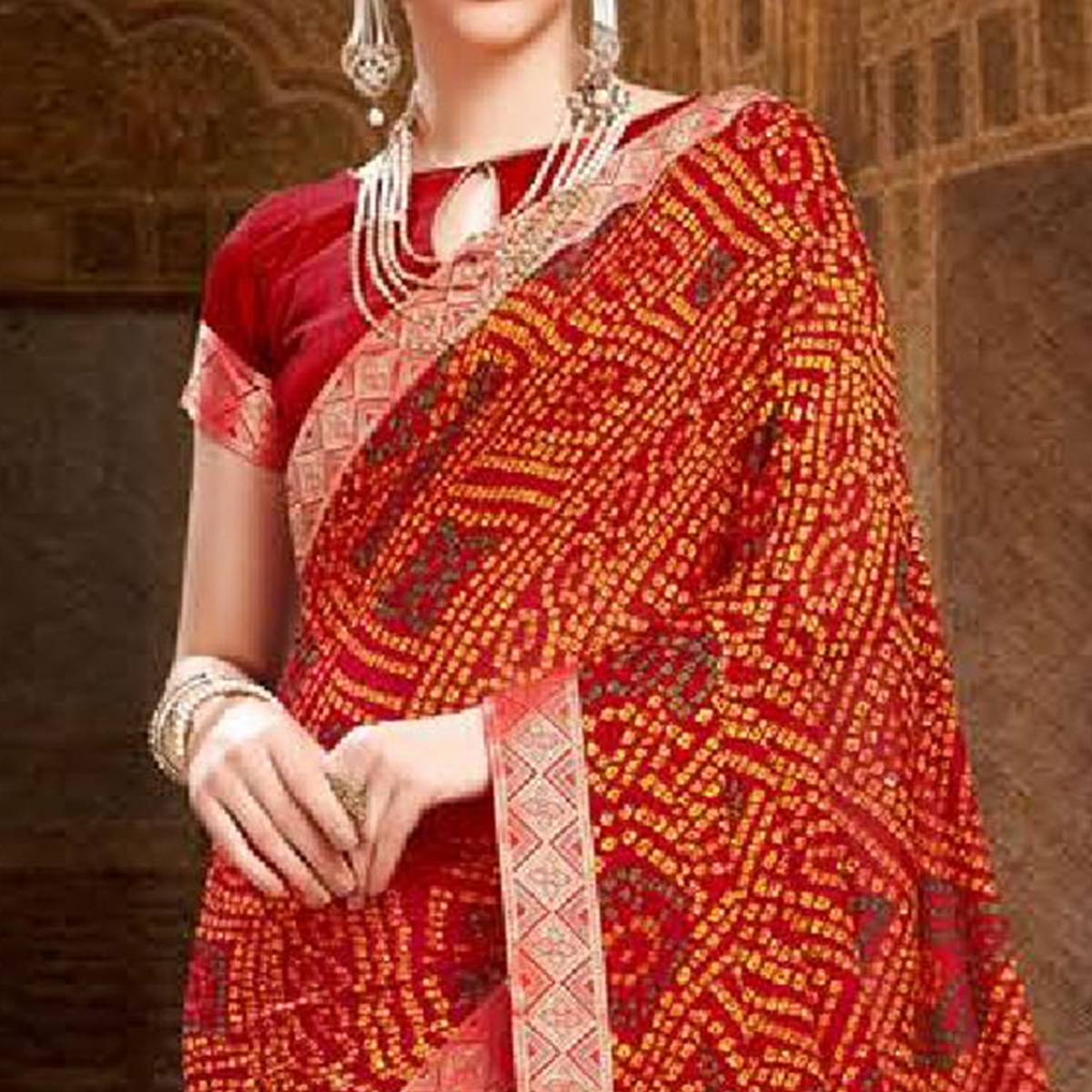 Gleaming Red Colored Bandhani Printed Heavy Georgette Saree With Jacquard Lace Border
