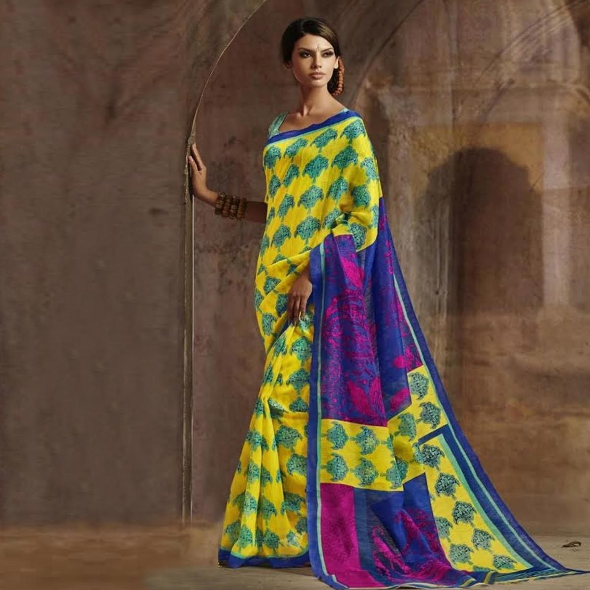 Yellow - Blue Printed Art Silk Saree