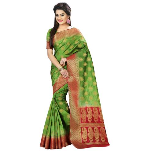 Beautiful Green Colored Festive Wear Woven Silk Saree