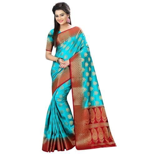Classy Sky Blue Colored Festive Wear Woven Silk Saree