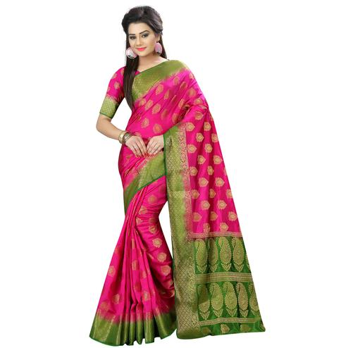 Glowing Rani Pink Colored Festive Wear Woven Silk Saree