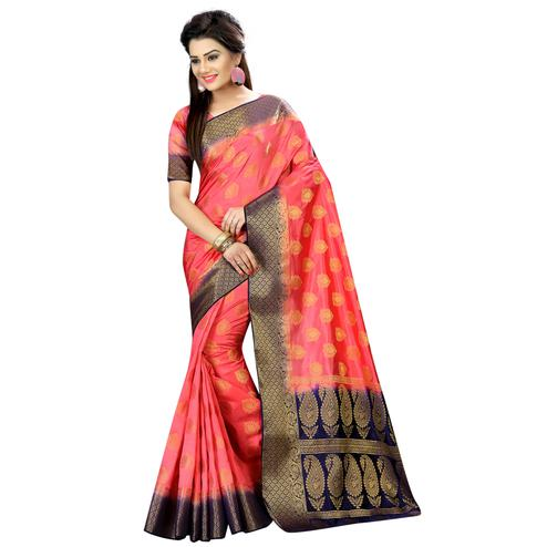 Lovely Peach Colored Festive Wear Woven Silk Saree