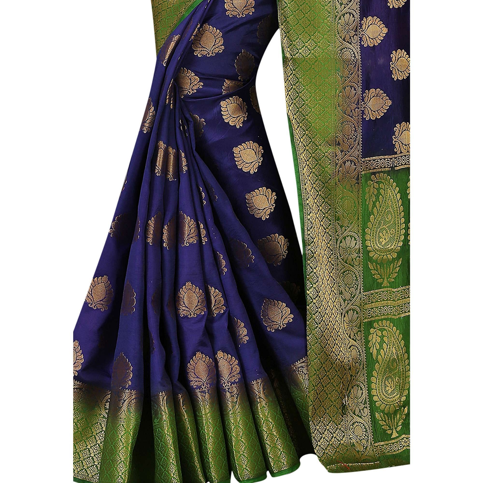 Desirable Navy Blue Colored Festive Wear Woven Silk Saree