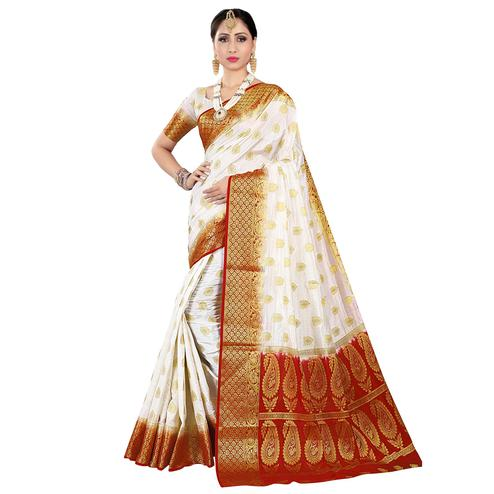 Adorable White-Red Colored Festive Wear Woven Silk Saree