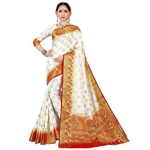 Glorious White-Red Colored Festive Wear Woven Silk Saree