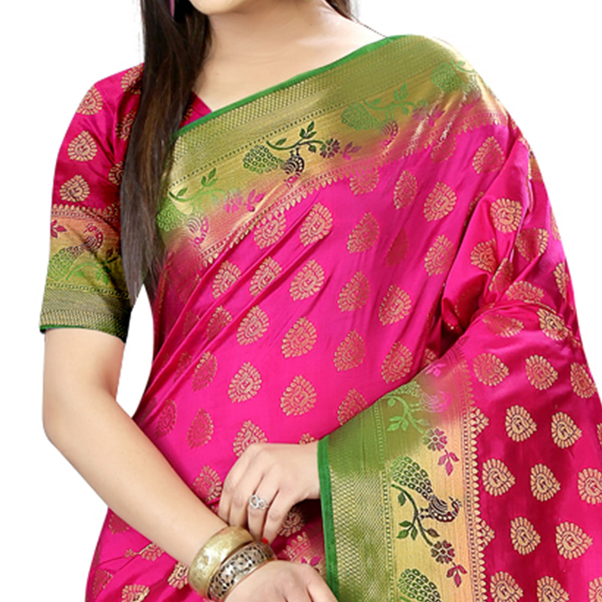 Gorgeous Rani Pink Colored Festive Wear Woven Silk Saree
