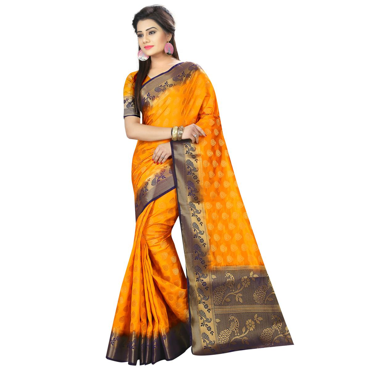 Graceful Orange Colored Festive Wear Woven Silk Saree