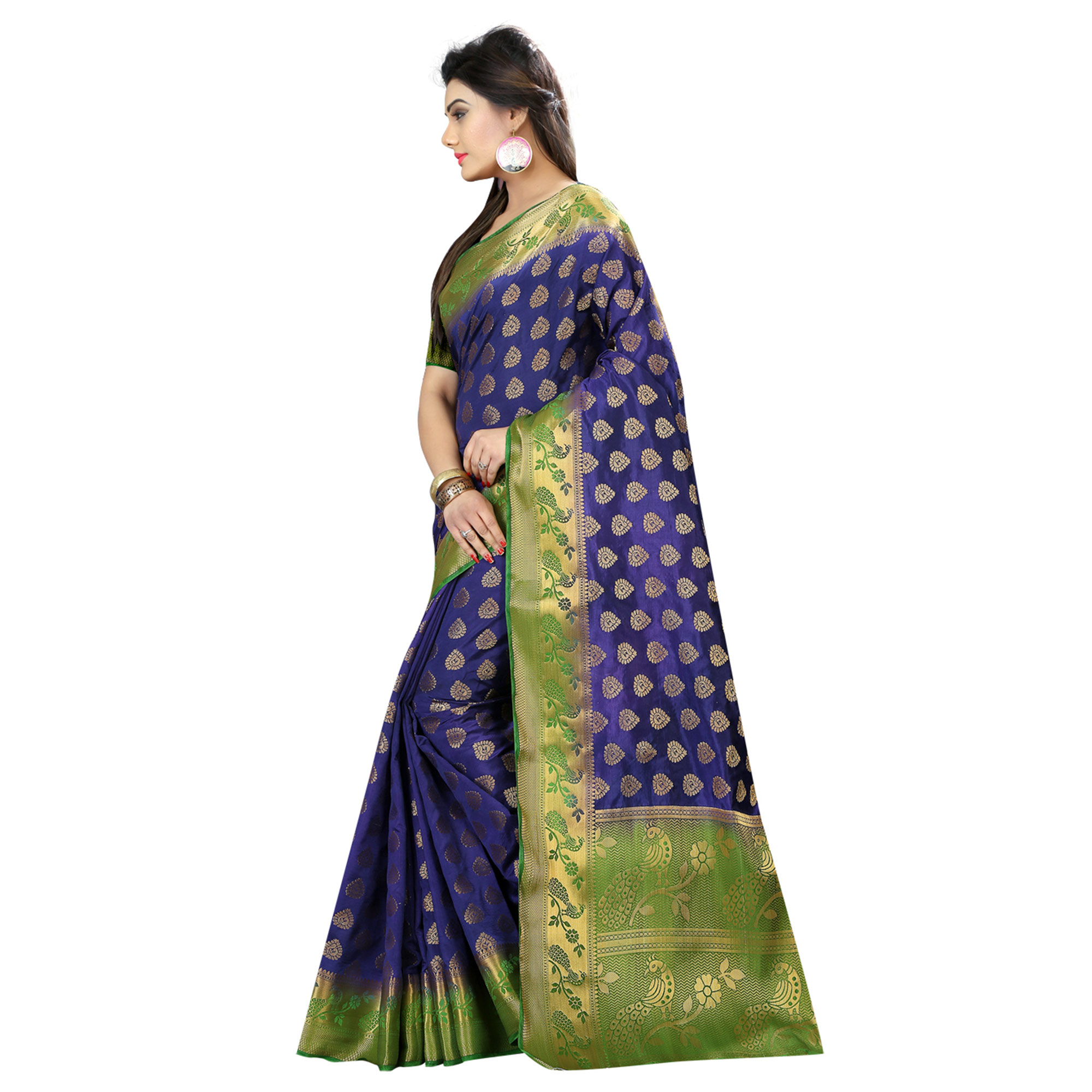 Imposing Navy Blue Colored Festive Wear Woven Silk Saree