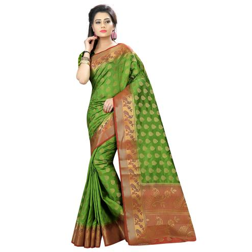 Majesty Mehendi Green Colored Festive Wear Woven Silk Saree