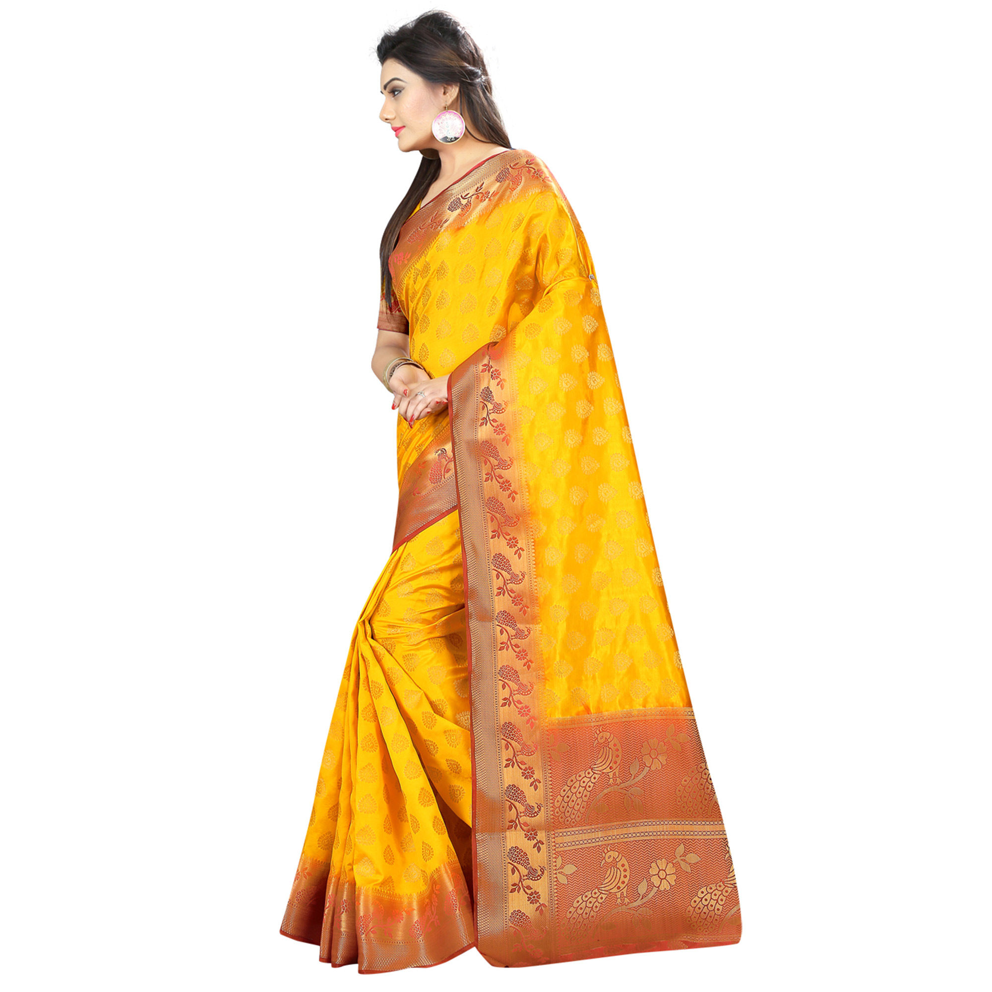 Marvellous Yellow Colored Festive Wear Woven Silk Saree