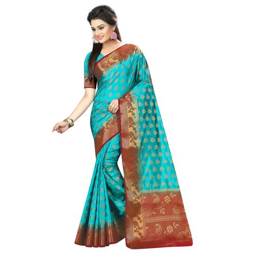 Preferable Aqua Blue Colored Festive Wear Woven Silk Saree