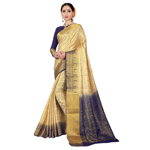 Mesmeric Cream-Blue Colored Kanjivaram Style Woven Silk Saree