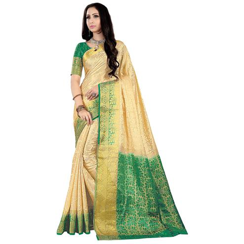 Unique Cream-Green Colored Kanjivaram Style Woven Silk Saree
