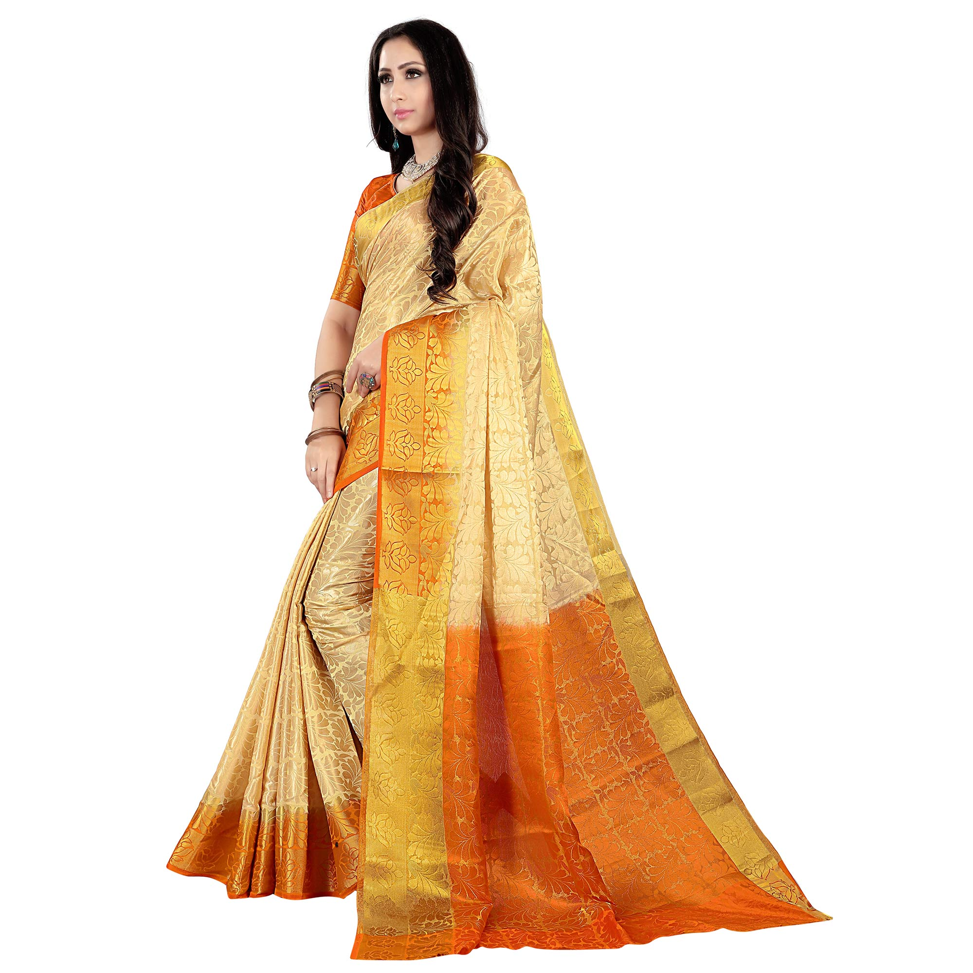 Demanding Cream-Orange Colored Kanjivaram Style Woven Silk Saree