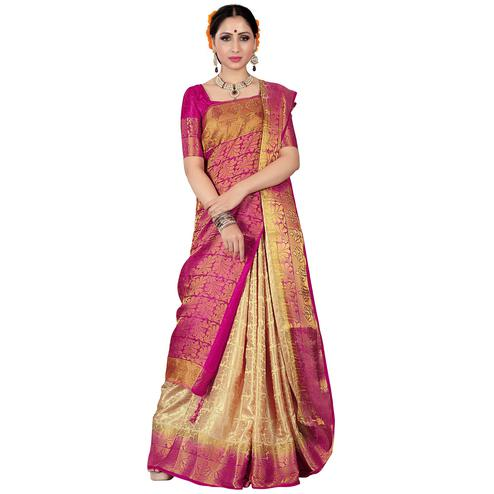 Refreshing Cream-Pink Colored Kanjivaram Style Woven Silk Saree