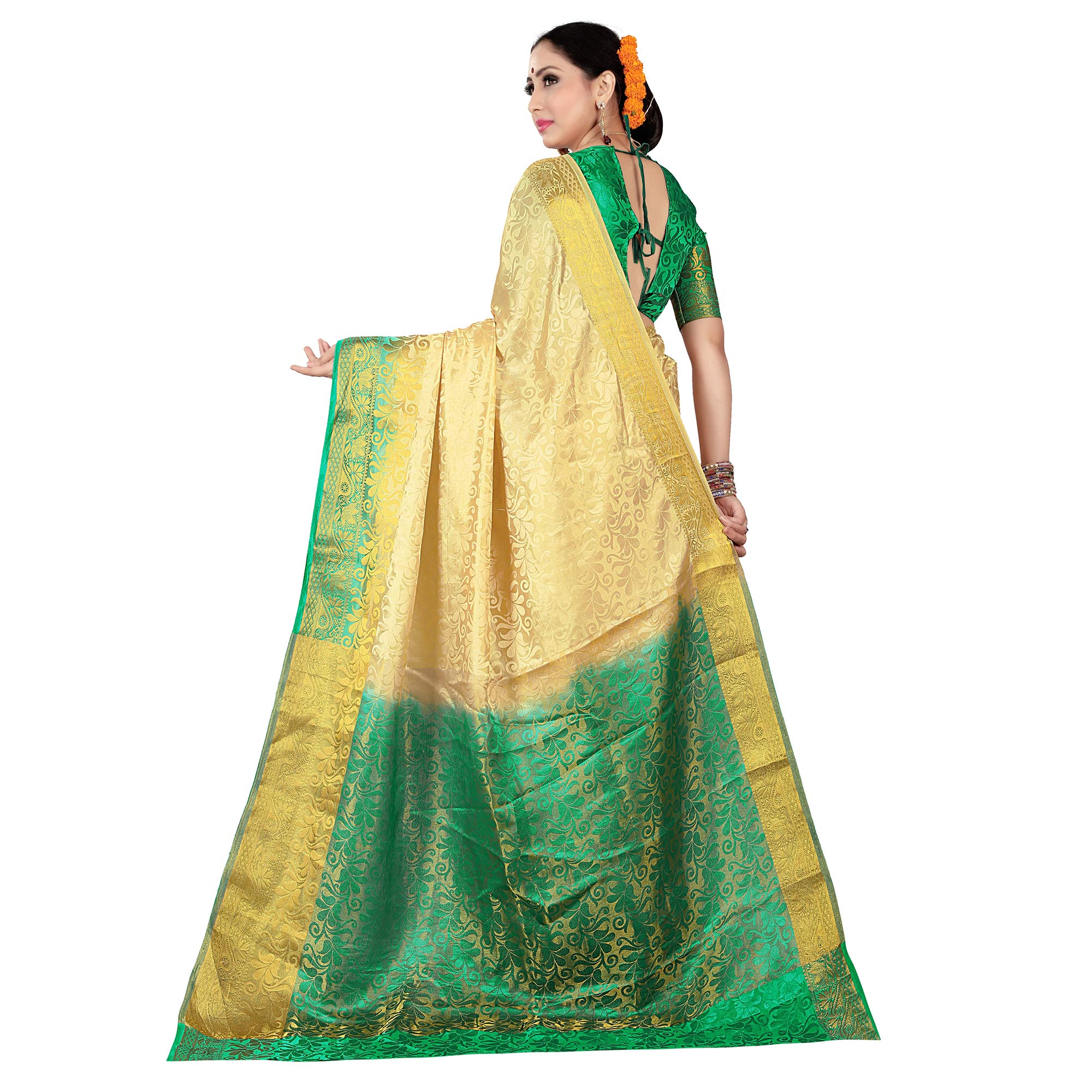 Magnetic Cream-Green Colored Kanjivaram Style Woven Silk Saree