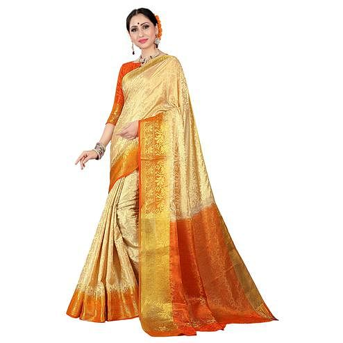 Hypnotic Cream-Orange Colored Kanjivaram Style Woven Silk Saree
