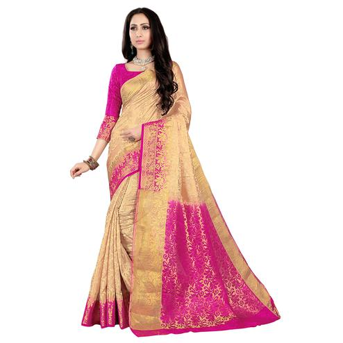 Elegant Cream-Pink Colored Kanjivaram Style Woven Silk Saree