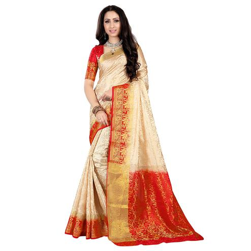 Excellent Cream-Red Colored Kanjivaram Style Woven Silk Saree