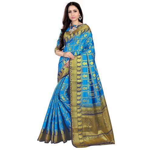 Preferable Blue Colored Patola Style Woven Silk Saree