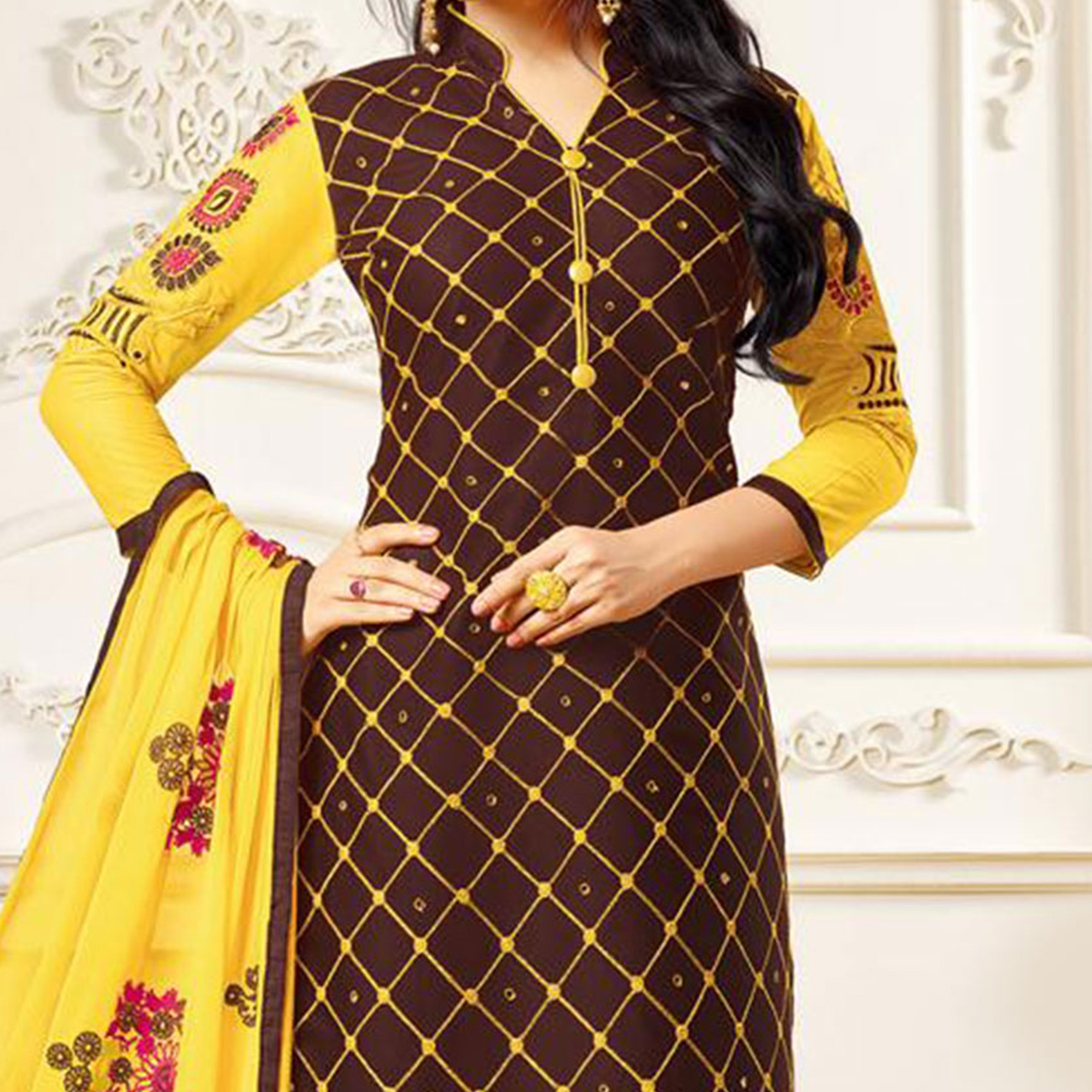 Brown Embroidered Partywear Chanderi Salwar Suit