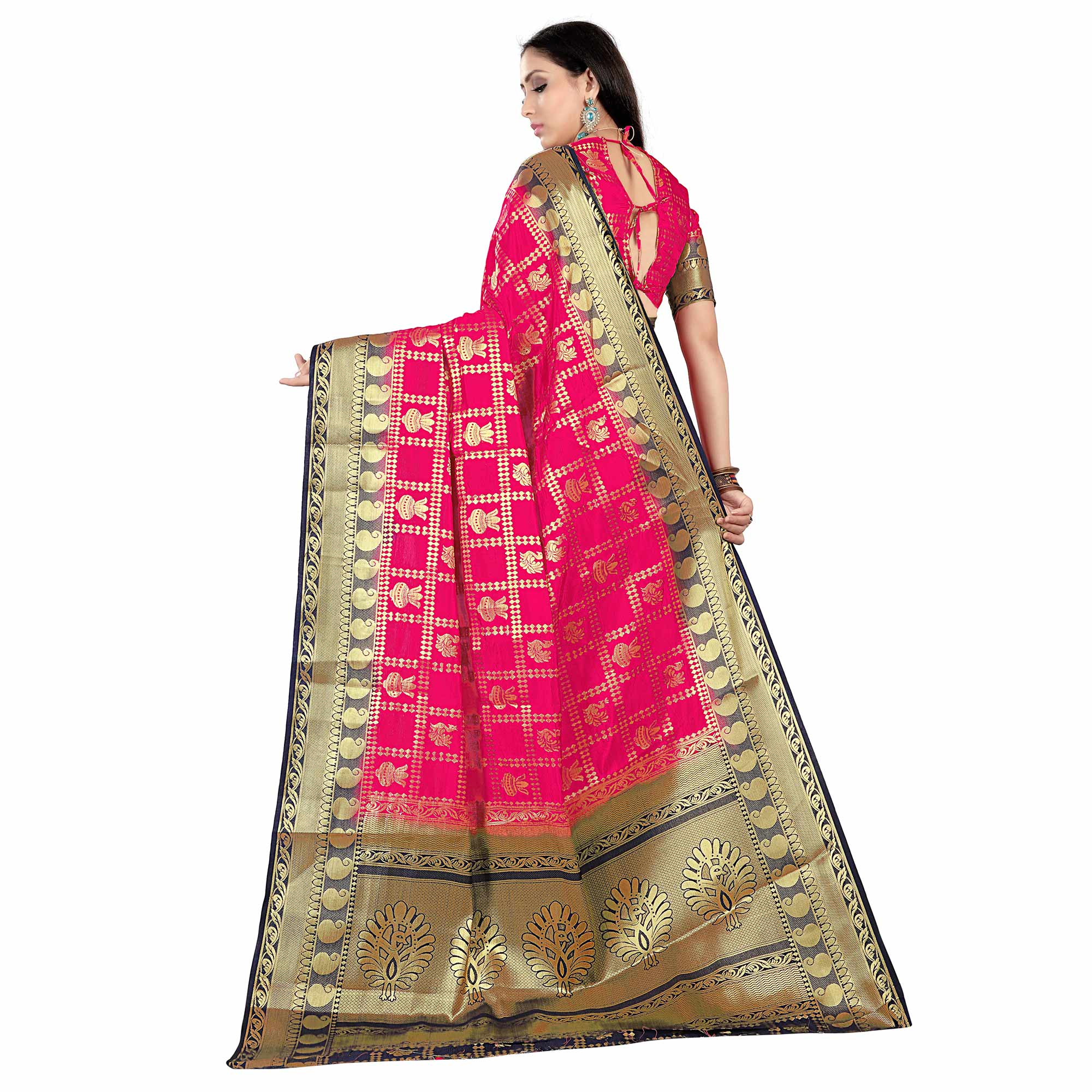 Starring Pink Colored Patola Style Woven Silk Saree