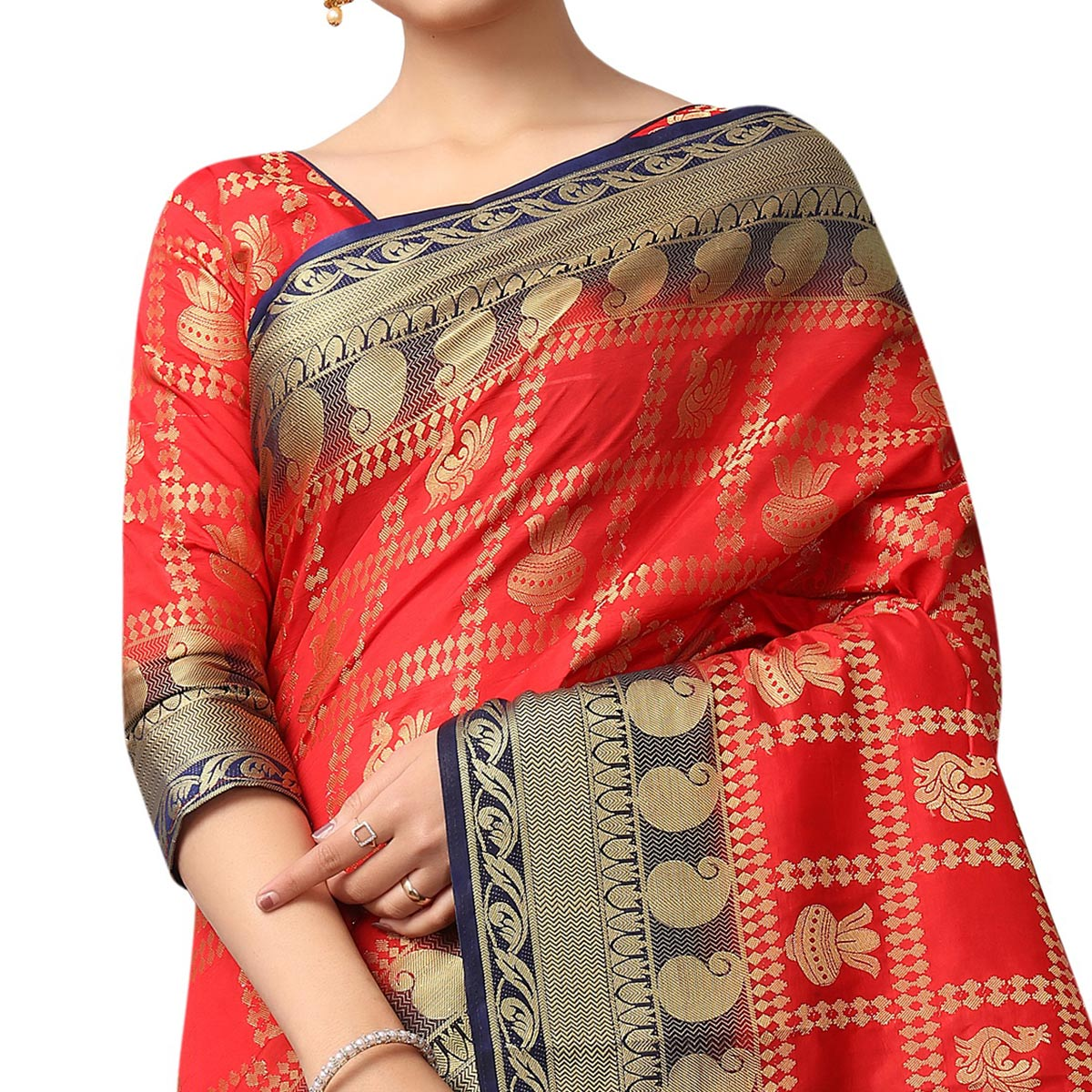 Stunning Red Colored Patola Style Woven Silk Saree
