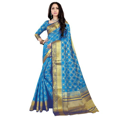 Desirable Sky Blue Colored Patola Style Woven Silk Saree