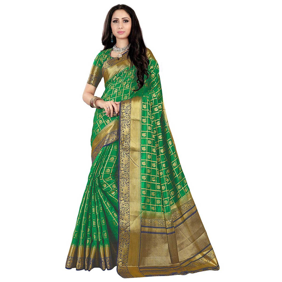 Starring Green Colored Patola Style Woven Silk Saree