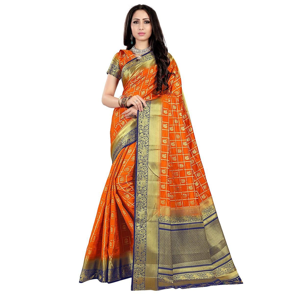 Sophisticated Orange Colored Patola Style Woven Silk Saree