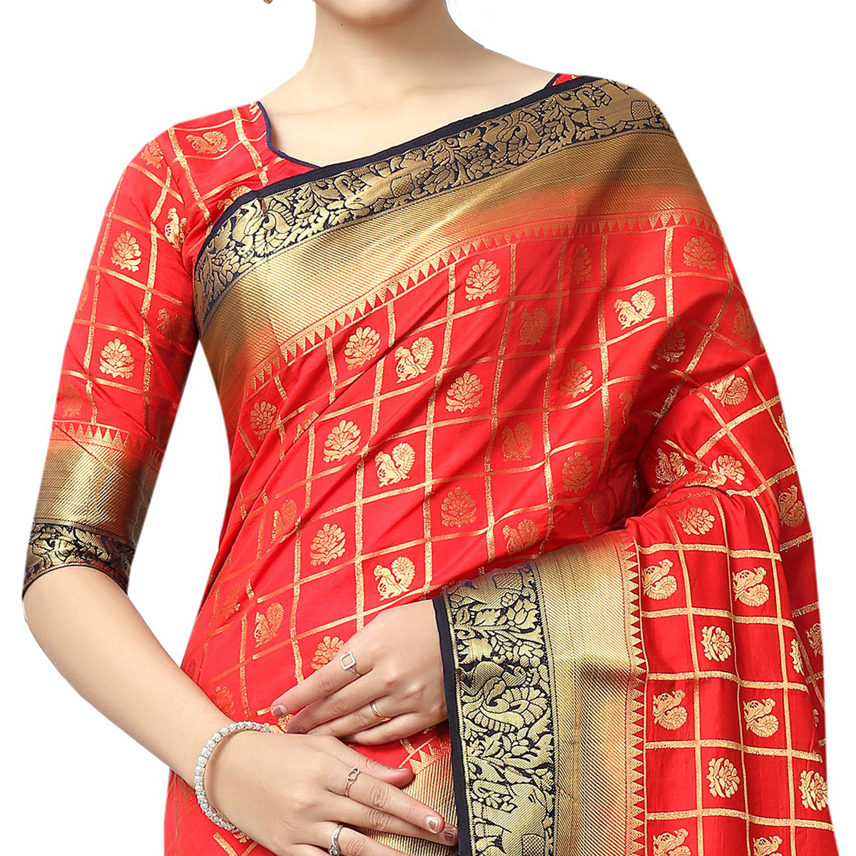 Trendy Red Colored Patola Style Woven Silk Saree