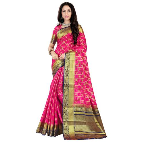 Flattering Pink Colored Patola Style Woven Silk Saree