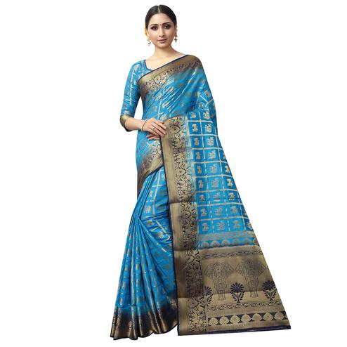 Pleasant Blue Colored Patola Style Woven Silk Saree