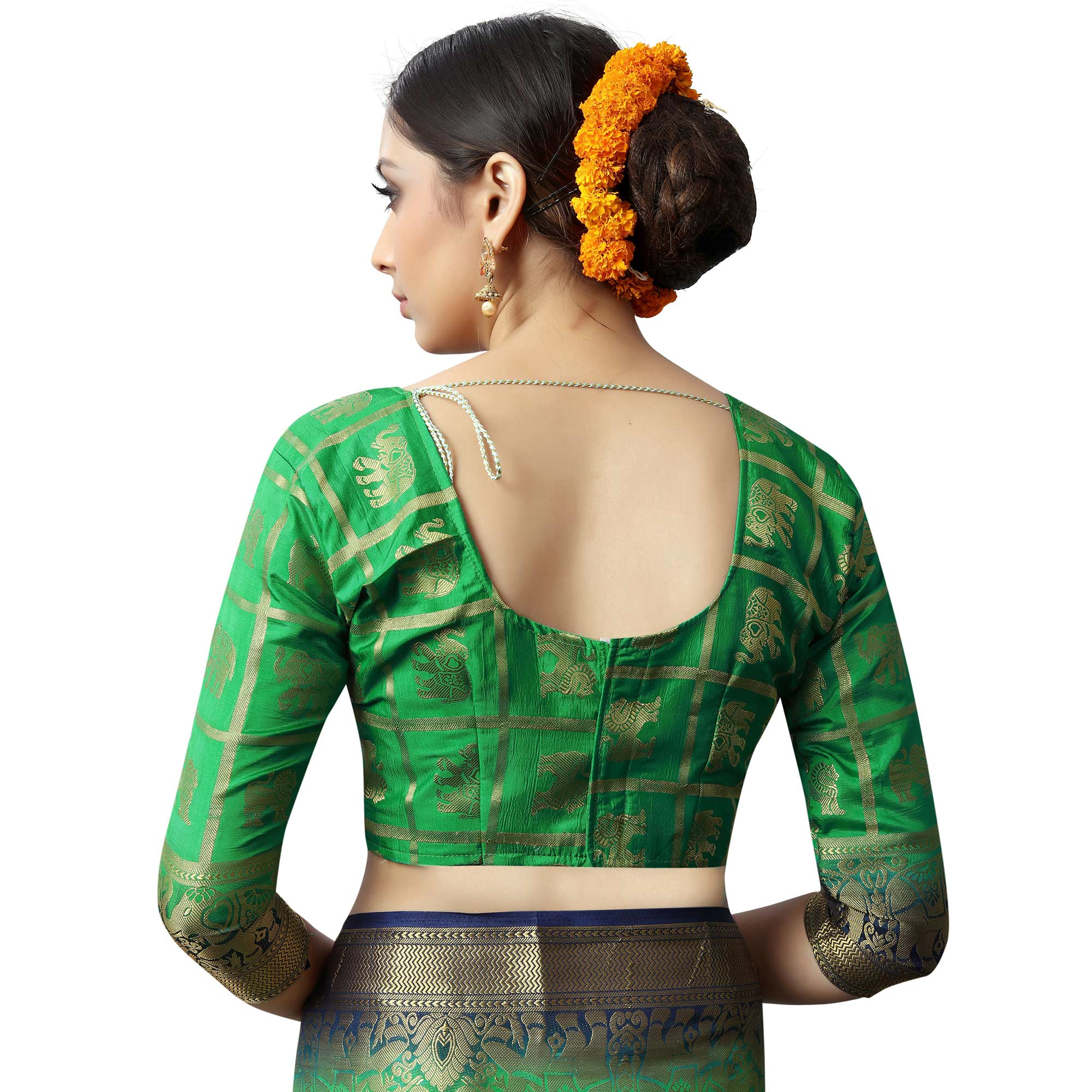 Opulent Green Colored Patola Style Woven Silk Saree