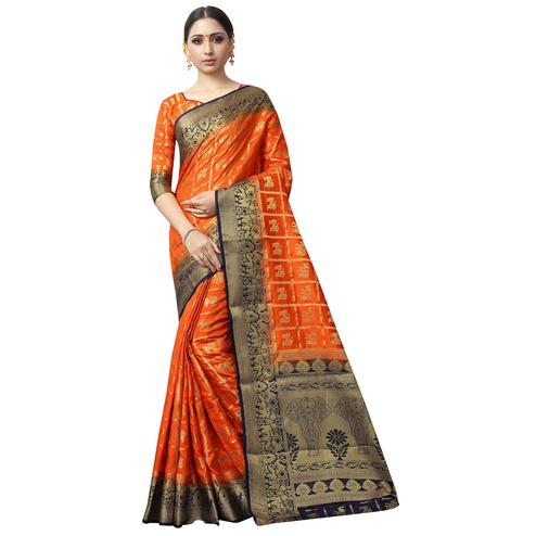 Energetic Orange Colored Patola Style Woven Silk Saree