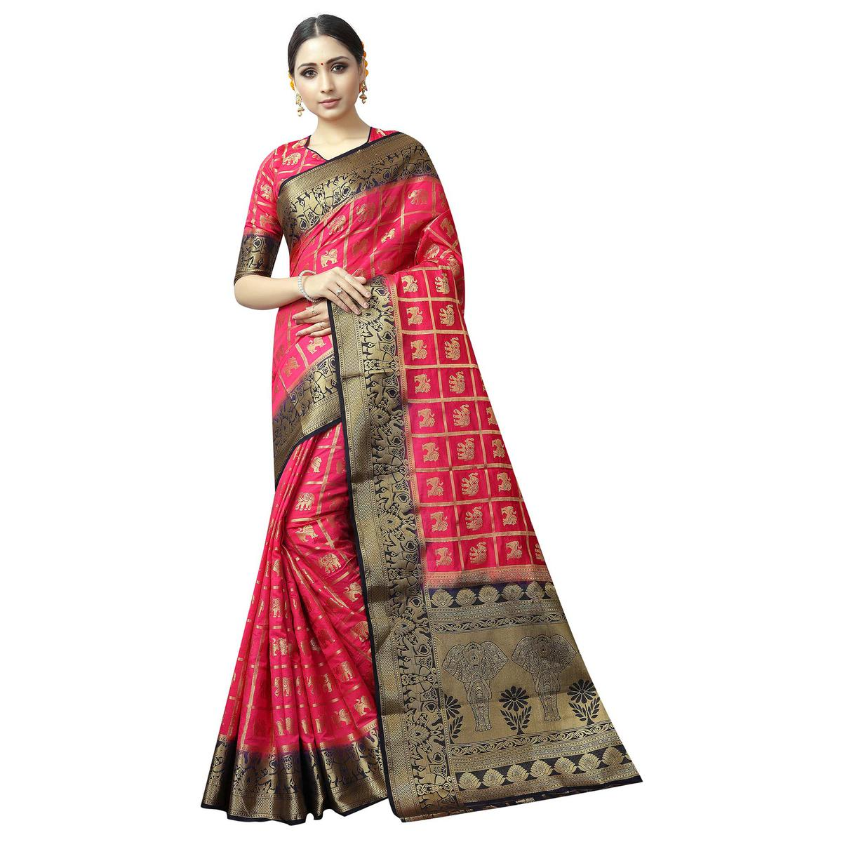 Glowing Pink Colored Patola Style Woven Silk Saree