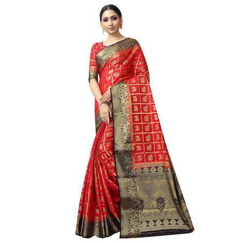 Unique Red Colored Patola Style Woven Silk Saree