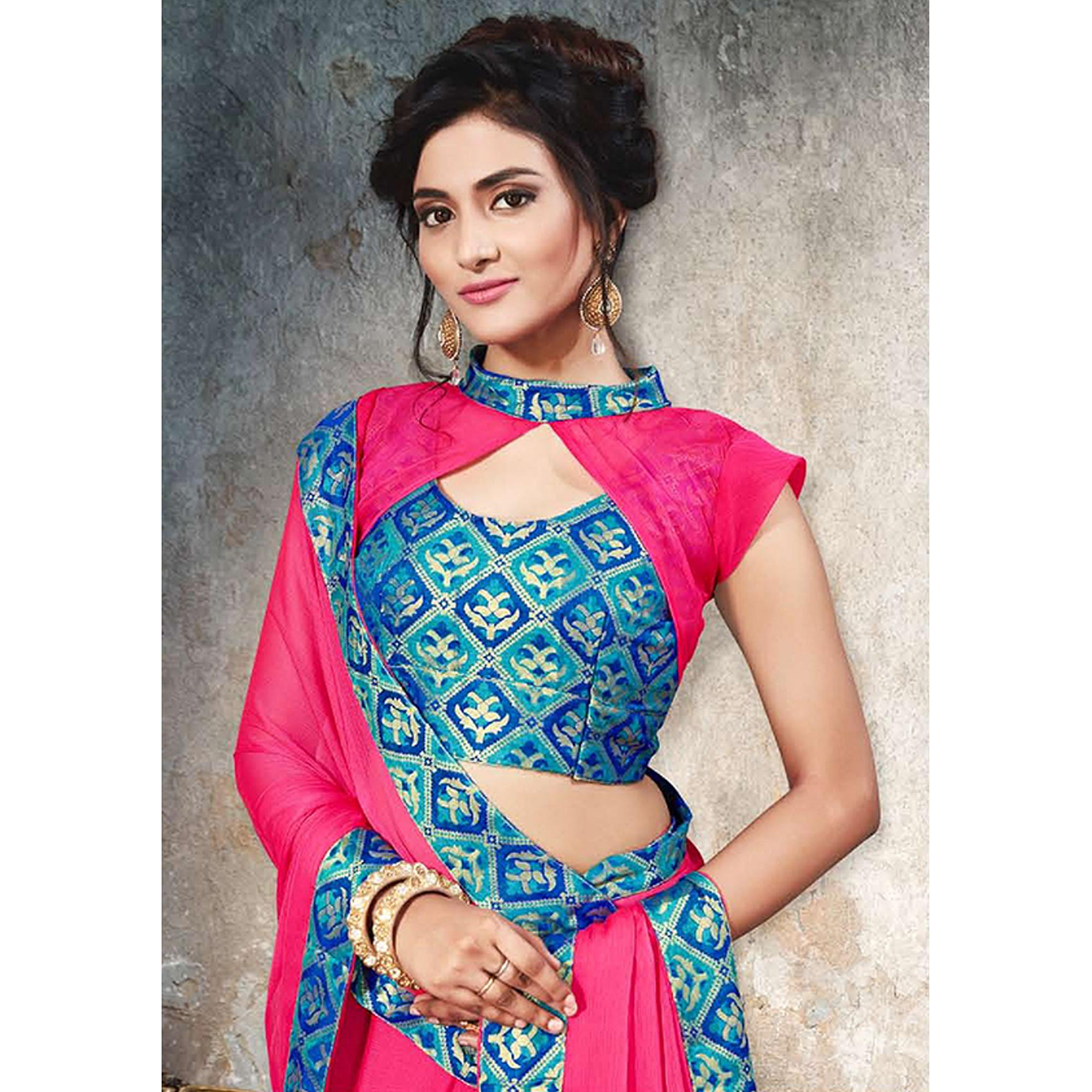 Desirable Rani Pink Colored Partywear Printed Heavy Georgette Saree With Lace Border