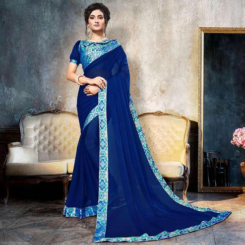 Starring Navy Blue Colored Partywear Printed Heavy Georgette Saree With Lace Border